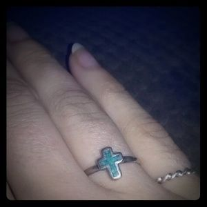 Vintage silver turquoise cross ring